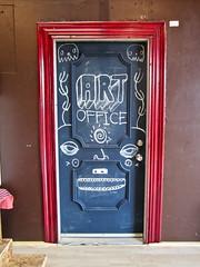 office (Black Cat Bazaar) Tags: california ca door yoga office gallery chico chalkboard manasartspace