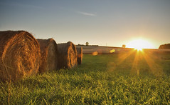 In the Hay (Vemsteroo) Tags: sunset france coral rural canon countryside sundown peaceful tranquility 5d rays hay elegant bales mkiii charante beautyinnature 24105mm ndgrad leefilters
