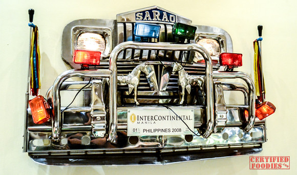 SARAO jeep parts displayed inside Cafe Jeepney InterContinental Manila