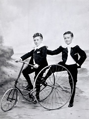 Master R.A. Metcalfe - Gibson & Master A.E. Metcalfe - Gibson with tricycle. (Beamish Museum) Tags: bicycle sport archive photograph cycle recreation olympics pennyfarthing beamishmuseum vintagecycling beamishcollections
