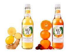 Koji sparkling soft drinks (FoodBev Photos) Tags: glass fruit ginger lemon bottles cranberry drinks mandarin beverages sparkling carbonated koji