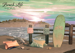 Beach Life Scene (LOTUS. & Ugly Duckling) Tags: ocean life new family sunset summer vacation holiday fish signs texture beach water fence children happy boat sand shiny warm surf waves toe candle child lotus board july august pillows sl pillow event driftwood flip second change hanging breeze tac tic flop shabby gacha gatcha