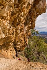 Leaving Mt Maroon cave (NettyA) Tags: 2016 australia mtmaroon qld queensland sonya7r bushwalk cave overhang rock scenicrim seqld winter bushwalkers mtbarneynationalpark sandstone