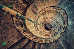 Downward spiral (ukasz Makiewicz) Tags: staircase spiral abandoned haunted house hdr forgotten lost manor mansion schody paac palace