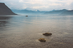 Across the fjord (Manadh) Tags: godya norway westernnorway landscape fjord mountain view manadh pentax rocks boat mist k3 sigma 1835mm alesund