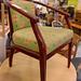 Club chair dark wood fabric mixed seat €40