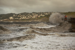 Work In All Weathers (Nic Rutterford) Tags: sea storm fisherman fisher fishing wave splash bay spray village