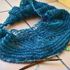 WP_20160910_13_32_42_Rich (lilirious) Tags: 2016 yarnporn stickscups design wip rain outside lopi einband shawl garterstitch short rows