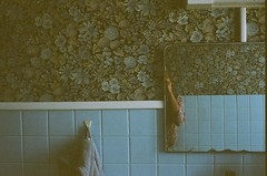 Douce toilette (MarinLebeau) Tags: blue dark obscur clairobscur sombre pnombre lowlight bathroom tapisserie wallpaper pattern vintagewallpaper vintage oldhouse agfavista400 vista400 35mm