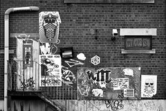Paste-Ups, Park St Car Park, Digbeth (dotcomjohnny) Tags: graffiti digbeth brum birmingham dotcomjohnny sticker art
