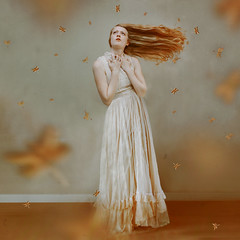 """""""Daughter of Midas"""" (Abby Kroke) Tags: gold golden dragonfly dragonflies orange indoors female woman lady girl red head pose dress emotion emotive emotional fairytale legend myth magic magical colorful vintage"""