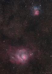 The Lagoon and Trifid Nebulae, 2016-09-02 (artcole) Tags: lagoonnebula trifidnebula m8 m20