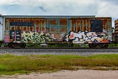 (o texano) Tags: houston texas graffiti trains freights bench benching rain tre