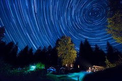 Startrails Black Forest (Michael-Herrmann) Tags: nikon d7100 sigma 1020 wide angle wideangle black forest blackforest schwarzwald hütte cabin star stars startrail sterne himmel sky night longtime exposure langzeitbelichtung todtnau silberberg circles circle tree trees silhouettes fire