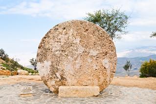 stone door of Byzantine Monastery on mount Nebo