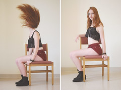 Heads Will Roll | Kelly (PointBlankEmilyy) Tags: motion girl hair ginger chair lace maroon naturallight pale hightops corduroy studyhall ncf