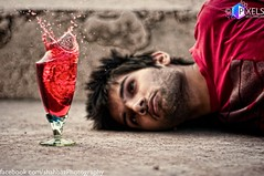 Dying to Drink (Shahbaz Hussain's Photography) Tags: pink blue light red white color reflection green art love water glass colors speed lens 50mm photo drops