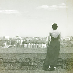 the edge (Urban Muser) Tags: nyc bw woman selfportrait me girl dress fttryonpark storypeople hmam texturesbylesbrumes bam2012