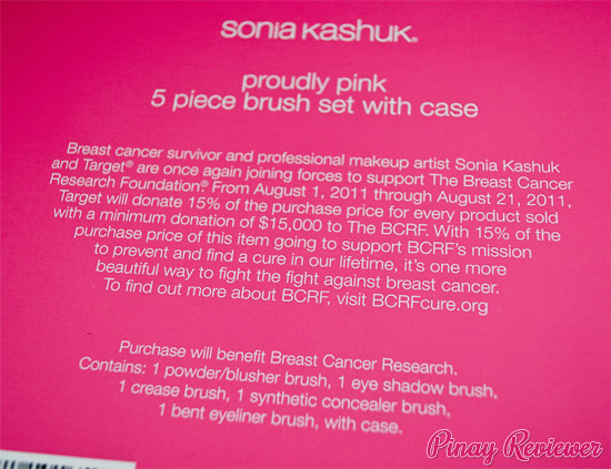 Sonia Kashuk Breast Cancer Awareness Proudly Pink Brush Set - back of box