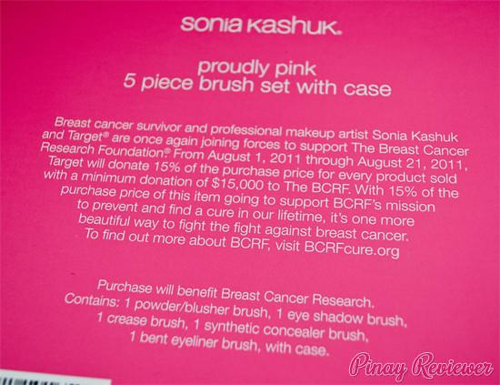 Sonia Kashuk Breast Cancer Awareness Proudly Pink Brush Set - back of box