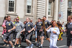Bridget Taylor (mother of Katie) is delighted to carry the torch from the Houses of the Oireachtas (misteil) Tags: dublin relay london2012 olympictorch olmympics