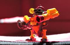 Firebot // 2 (jpmacmillan) Tags: fire robot lego micro legos fireman firefighter mecha bot mech moc firestarter firebot tablescrap