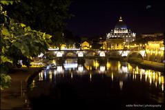 The Vatican.... (eddie_fletch) Tags: city longexposure bridge italy moon vatican rome night reflections river tiber angelo sant castel