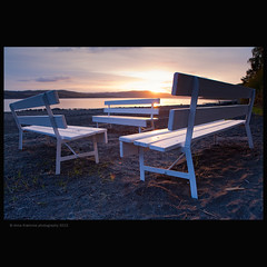 aday.org (stella-mia) Tags: pink sunset sun beach norway bench evening seat benches hamar eveninglight 2470mm hightlight helgya whitebench canon5dmkii annakrmcke krmcke nesandhelgya adayorg benchonthebeach