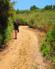 Candy Walking Ishioashi Farm Trail (TheJudge310) Tags: california woman usa girl bag walking candy hiking path sneakers trail shorts latina ranchopalosverdes