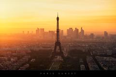 Paris sunset (no hdr) (Beboy_photographies) Tags: sunset paris de la soleil tour coucher eiffel toureiffel hazy montparnasse coucherdesoleil ladéfense défense tourmontparnasse trocadéro