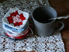 122:365 (itchinstitchin) Tags: morning pink blue red white cup project squares crochet gray craft spoon stack mug pottery 365 chic granny tablesetting