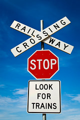 Crossing (mreastwood) Tags: road sign train crossing sydney australia melbourne stop stopsign
