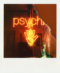 Psychic (daveknapik) Tags: nyc newyorkcity red signs newyork film sign brooklyn polaroid cool hands neon glow hand neonlights williamsburg instant glowing neonsign damaged divot psychic neonsigns impossible onestep imperfections divots onestepexpress polaroidonestepexpress impossibleproject theimpossibleproject px680 psychicnyc px680colorshadecool