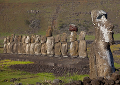 Monolithic Moai Statues At Ahu Tongariki, Easter Island, Chile (Eric Lafforgue) Tags: chile travel sculpture color colour history archaeology latinamerica southamerica nature statue rock horizontal stone mystery outdoors photography polynesia ancient chili order exterior pacific guard nobody nopeople worldheritagesite pacificocean majestic moai easterisland colorphoto rapanui inarow isladepascua hangaroa ahutongariki archeologicalsite southpacificocean traveldestinations 0806 largegroupofobjects  placeofinterest oldruin internationallandmark ancientcivilisation polynesianculture  malelikeness ili  humanrepresentation builtstructure polynesianisland southamericanculture moaistatues   ile    southeasternpacificocean polynesiantriangle chileanpolynesia