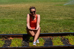 Fake senior pics (m01229) Tags: railroad traintracks melissa oldtownalexandria railroadtracks