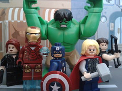 The Avengers. (CustomLego) Tags: man hammer movie iron comic lego gamma awesome super hero guns shield hawkeye blackwidow hulk thor marvel captainamerica avengers lazers 2012 quiver