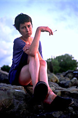 Aneta Portrait On Rocks With Cigarette 2 (neohypofilms) Tags: blue light portrait sky cinema cold color sexy slr classic film nature girl lady female clouds 35mm vintage painting hair children landscape photography sadness eyes nikon rocks europe colours fuji child dress natural legs emotion cigarette picture style poland polish slide retro smoking bleu photograph short clogs heels series cinematic drama smokers eastern mules e6 slippers platforms fm2 100iso neohypofilms