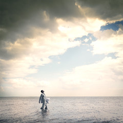 A Renaissance Dream (Simon McCheung) Tags: ocean light portrait sky wet water mystery clouds self painting square heaven alone sleep walk g