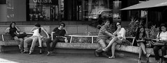 street life (The91) Tags: life street leica bw film public beer yellow bar 35mm 50mm pub singapore 14 group delta snap summicron negative filter 200 sit sunglass wait roll push medium 100 m2 ilford 022 pushprocess leicam2 2x rigid ddx mediumyellow leicasummicronrigid1250mm