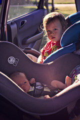 First car ride (Scott SM) Tags: old 2 two baby car one 1 big toddler ride little sister brother seat year first carseat 25 newborn month