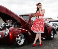 Holly_7018 (Fast an' Bulbous) Tags: girl woman hot sexy car vehicle willys coupe automobile hotrod red pokadot dress stockings high heels long hair petticoat shoes people outdoor santa pod dragstalgia model pose nikon d7100 gimp chick babe hotty legs brunette nylons