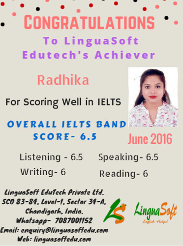 Radhika - IELTS Band Score - 6.5