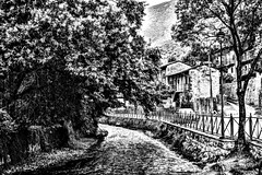 ANOTHER TIMELINE (marcobertarelli) Tags: timeline time old vintage river medieval brick argini water tree houses waterfall life black bw history hdr white gigio detail defined focus