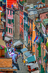 Tourists on the streets (BlindThirdEye) Tags: vernazza cinqueterre italy laspezia landscape cityscape streets wideangle hdr flickrtravelaward
