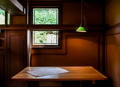 Frank Lloyd Wright - Home and Studio (marionchantal) Tags: franklloydwright architect home studio oakpark illinois usa unitedstates drafting table work interior lamp green 1909 nikond7200 blueprint light