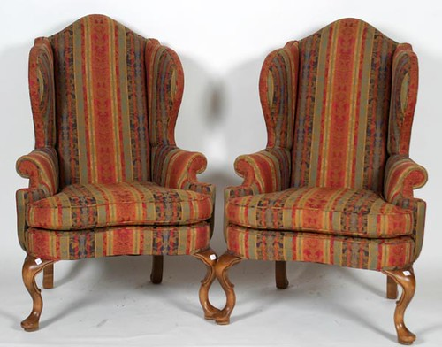 Pair of Queen Anne Style Wingback Chairs ($313.60)