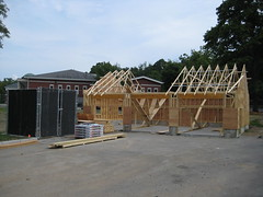 43 Carrirage House roof trusses installed (chelmsfordpubliclibrary) Tags: cpl chelmsford chelmsfordpubliclibrary chelmsfordlibrary greenway