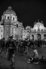 Long night at the Charles Bridge (QC Doc) Tags: prague nightphotography streetphotography candid blackandwhite monochrome crowd