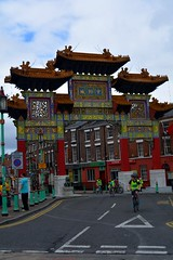 cyclist going through Chinese Arch (James O'Hanlon) Tags: skyride sky ride liverpool 2016 skyrideliverpool