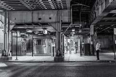 Lawrence Avenue El (clif_burns) Tags: blackandwhite cta chicago el lawrenceavenue monochrome nightphotography streetphotography